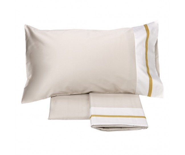 MICOL DUVET 260X240+2 PILL.CASES 50X75+FLAT SHEET 270x290 TORRONE/OCRA100% Cotton