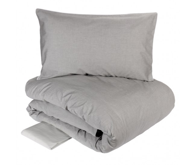OXFORD DUVET 240X220 + 2 PILL.CASES 50X75 + FLAT BOTT. SHEET 270X290GRIGIO100% Cotton