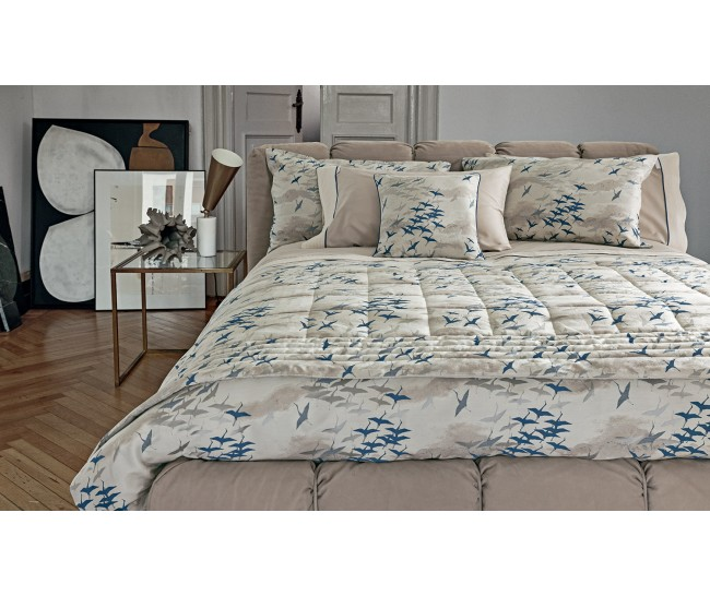 AIRONE  DUVET 240X220+2 PILL.CASES 50X75+FLAT BOTT. SHEET 270X290TORRONE/ BLUJacquard 85% Viscose, 15% Silk - Sateen: 100% Cotton