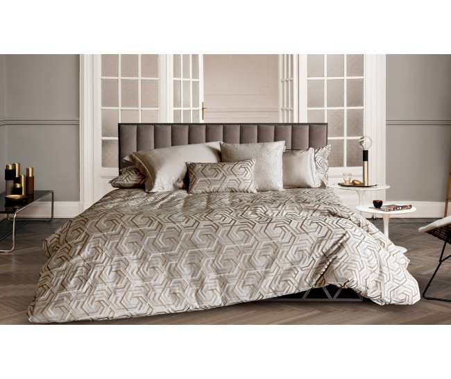 MINOSSE  DUVET 240X220+2 PILL.CASES 50X75+FLAT BOTT. SHEET 270X290GESSO/ PAVONEJacquard: 53% Viscose 27% Cotton 20% Silk - Sateen: 100% Cotton